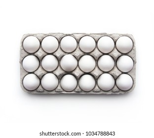 Carton of white eggs from above