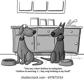 Cartoon about a dog who likes to savor his food, his friend, however, eats quickly.