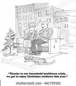 Cartoon about lack of healthcare coverage.
