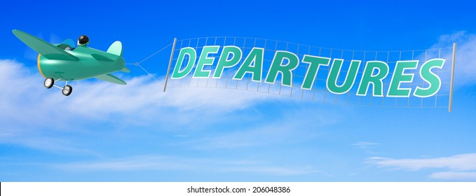 Cartoon Airplanes with Departures Banner.