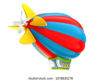 Cartoon airship isolated on white background, back view. Dirigible in cartoon kids style. 3d illustration