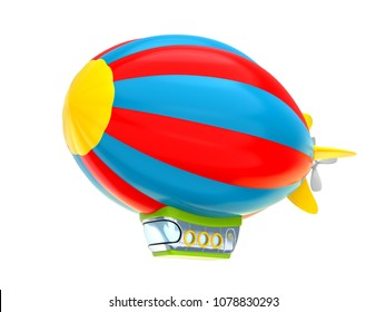 Cartoon airship isolated on white background. Dirigible in cartoon kids style. 3d illustration