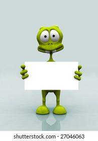 A cartoon alien holding a blank sign.