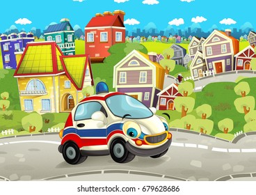 Cartoon ambulance car smiling and looking in the parking lot - illustration for children