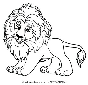 Cartoon animal - lion - caricature - coloring page - illustration for the children