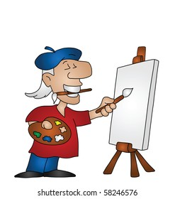 Cartoon artist with copy space on canvas for own text or image