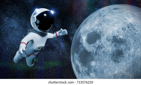 cartoon astronaut character in white space suit is performing a space walk in orbit of the Moon (3d illustration)