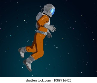 Cartoon astronaut in the space. 3D illustration