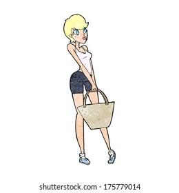cartoon attractive woman shopping