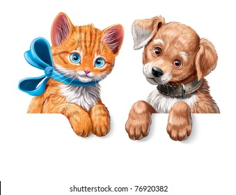 cartoon banner with kitten and puppy