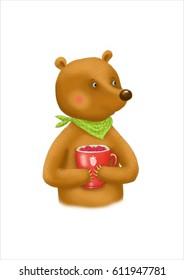 cartoon Bear with berries