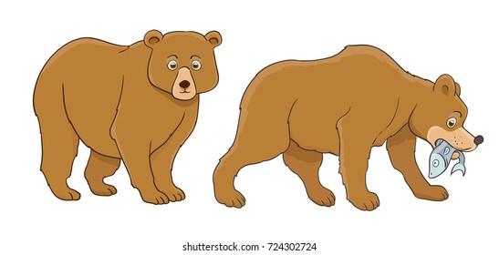 cartoon bear set, standing and catching fish. raster illustration