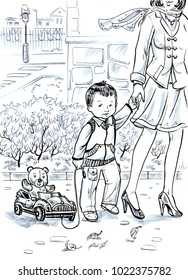 cartoon beautiful drawing of a small boy and his mother walking down the street in the spring town