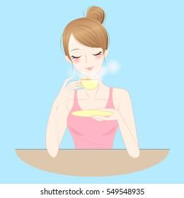 cartoon beauty woman drink tea or coffee