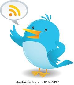Cartoon Blue Bird talking