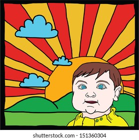 Cartoon of a blue eye baby with a glorious sunrise in the background.