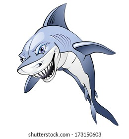 Cartoon blue shark over white background