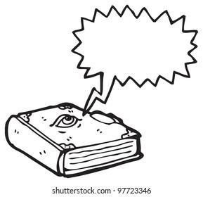 cartoon book with eyeball