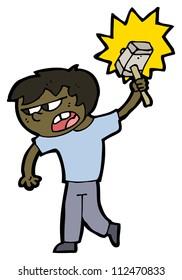 cartoon boy with hammer