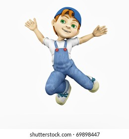 cartoon boy - happy jump