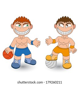 Cartoon boys on white background