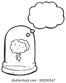 cartoon brain in jar