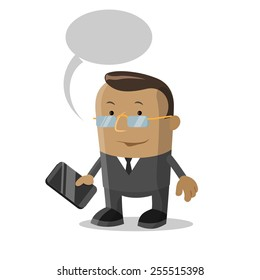 Cartoon businessman with mobile phone