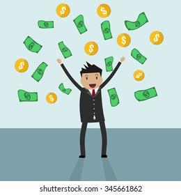 Cartoon businessman standing under falling raining money shower of gold coin and bill dollar money. illustration in flat design on light backgound, Financials, work motivation