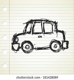 cartoon car in doodle style