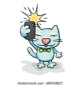Cartoon cat character taking selfie photo on smart phone. Hand-drawn illustration.