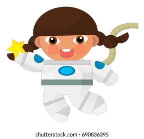Cartoon character - astronaut isolated - illustration for children