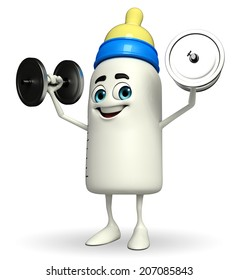 Cartoon Character of baby bottle with dumbbells