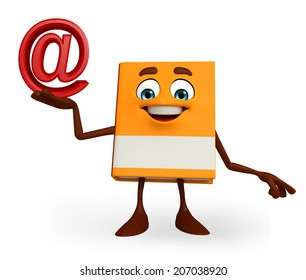 Cartoon Character of Book with at the rate sign