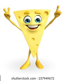Cartoon Character of Cheese with victory sign