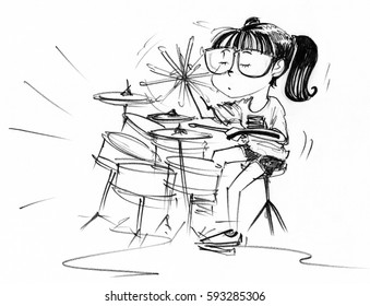 Cartoon character design girl acting to playing drum set and swinging bat feeling slow life, Pencil sketch hand drawing black and white.