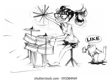 Cartoon character design girl acting to playing drum set and swinging bat feeling very funny behind has fat cat sitting and show finger symbol is great and say like, Pencil sketch hand draw art line.