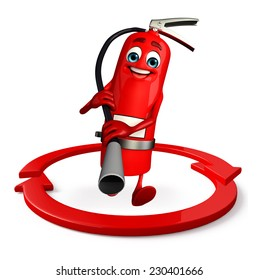 Cartoon Character of fire extinguisher with arrow