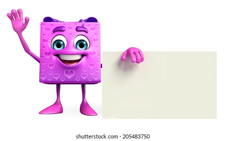 Cartoon Character of gift box with sign