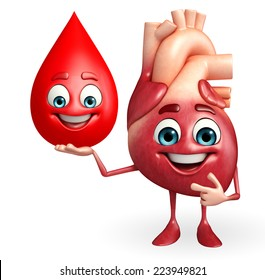 Cartoon Character of heart with blood drop