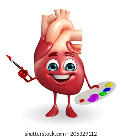 Cartoon Character of heart with color plate