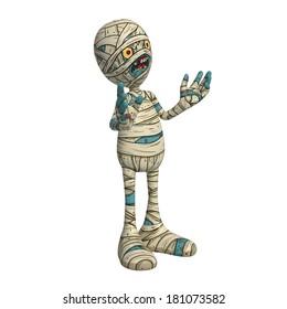 Cartoon character illustration of Scary Mummy Monster for Halloween explaining something