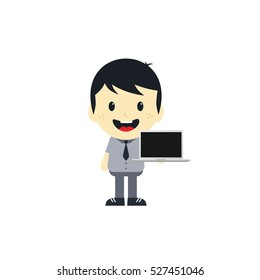 cartoon character with laptop notebook