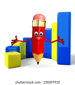 Cartoon Character of pencil with Business graph
