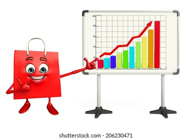 Cartoon Character of shopping bag with business graph