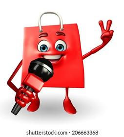 Cartoon Character of shopping bag with mike