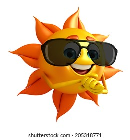 Cartoon Character of sun with Sun glasses