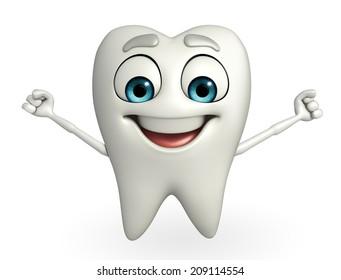 Cartoon character of teeth is running