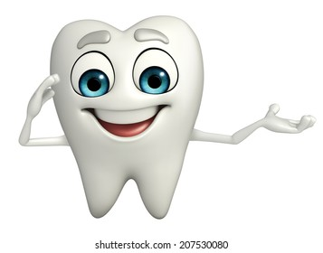 Cartoon character of teeth with salute pose