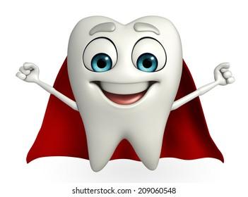 Cartoon character of teeth with superman cloth