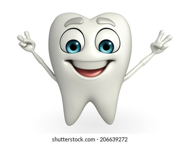 Cartoon character of teeth with victory sign